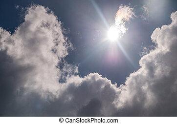 beau, nuages tempête, nuageux, sky.