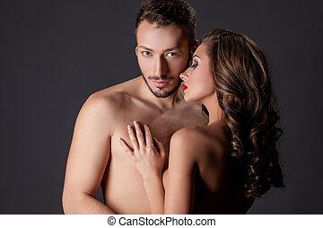beau, nude., amants, image, jeune, étreindre