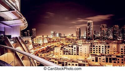 beau, nuit, cityscape, de, dubai