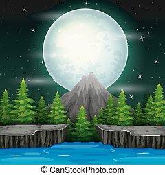 beau, nuit, paysage, fond, nature