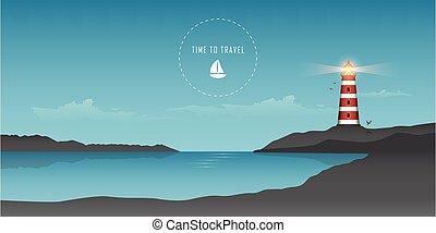 beau, océan, marine, phare, voilier