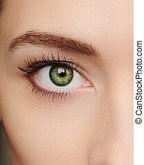 beau, oeil, macro, closeup, portrait, vert, woman.
