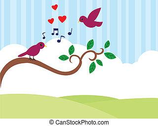 beau, oiseaux, dans, love.