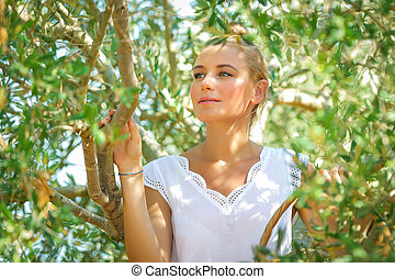 beau, olive, girl, jardin