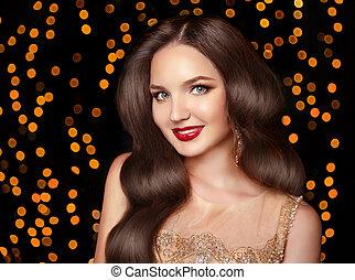 beau, ondulé, brunette, bijouterie, maquillage, long, lèvres, mode, cheveux, boucles oreille, sourire, rouges