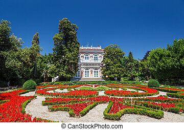 beau, opatija, villa, angiolina, parterre fleurs, croatie, entrée, avant