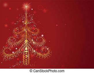 beau, or, arbre, noël, fond