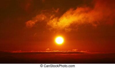 beau, orange, nuages, levers de soleil