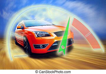 beau, orange, sport, voiture, sur, route
