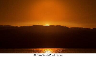 beau, orange, sur, sea., levers de soleil