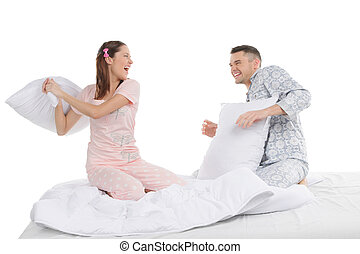 beau, oreillers, couple, jeune, combat, fight., pyjamas,...