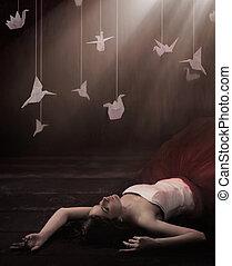beau, origami, brunette, rêveur