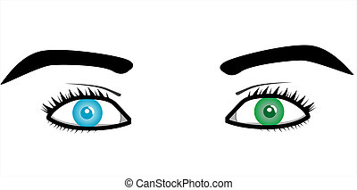 beau, paires, yeux