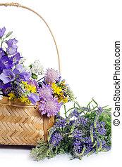 beau, panier, fleurs blanches, isolé
