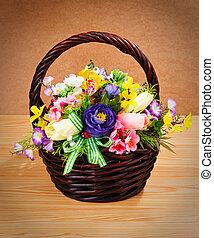 beau, panier, fleurs