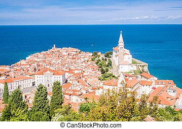 beau, panorama, piran, slovénie