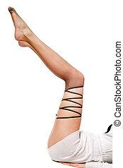 beau, pantyhose., bien fait, isolé, femmes, blanc, jambes