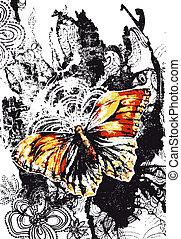 beau, papillon, bannière, affligé, effet