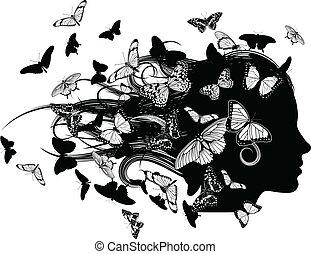 beau, papillon, cheveux, femme