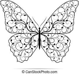 beau, papillon, pattern., floral