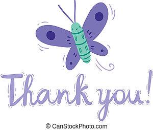 beau, papillon, remercier, simple, vous, dessin animé, carte