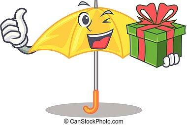 beau, parapluie, cadeau, caractère, jaune, ouvert