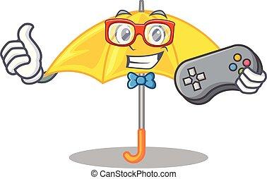 beau, parapluie, caractère, jaune, gamer, ouvert