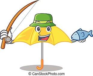beau, parapluie, caractère, jaune, peche, ouvert