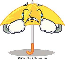 beau, parapluie, caractère, jaune, pleurer, ouvert