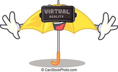 beau, parapluie, caractère, jaune, réalité, virtuel, ouvert