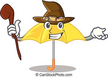 beau, parapluie, caractère, jaune, sorcière, ouvert