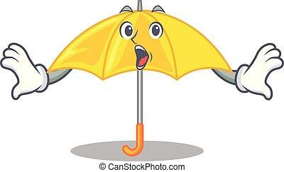 beau, parapluie, caractère, jaune, s'ouvrir étonnant