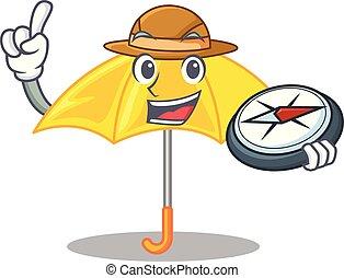 beau, parapluie, explorateur, caractère, jaune, ouvert