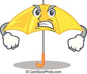 beau, parapluie, fâché, caractère, jaune, ouvert