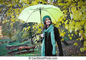 beau, parapluie, jeune, jaune, sous, girl