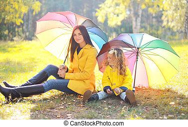 beau, parapluie, mère, parc, automne, enfant