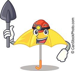 beau, parapluie, mineur, caractère, jaune, ouvert