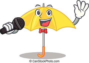 beau, parapluie, ouvert, caractère, jaune, chant