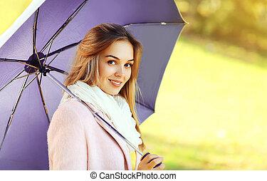 beau, parapluie, parc, automne, portrait, girl