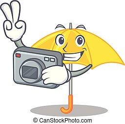 beau, parapluie, photographe, caractère, jaune, ouvert