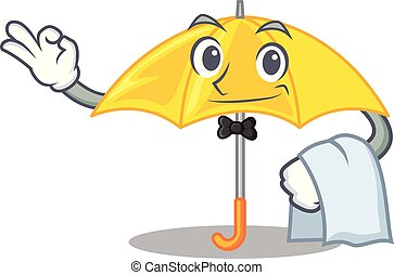 beau, parapluie, serveur, caractère, jaune, ouvert