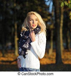 beau, parc, chandail, blanc, glacial, automne, girl, blond