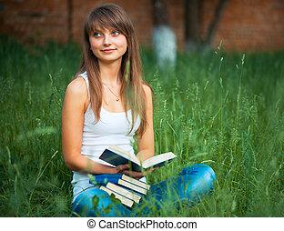 beau, parc, jeune, livre, vert, girl, herbe