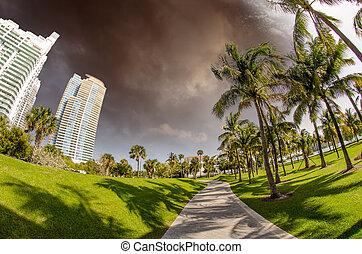 beau, parc, jour ensoleillé, walkway