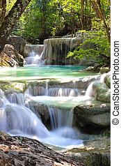 beau, parc national, erawan, chute eau, kanchanaburi