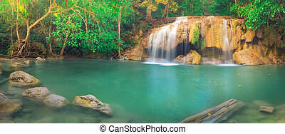 beau, parc national, erawan, chute eau, thaïlande