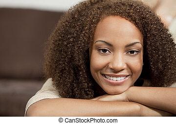 beau, parfait, américain, course, africaine, mélangé, sourire, girl