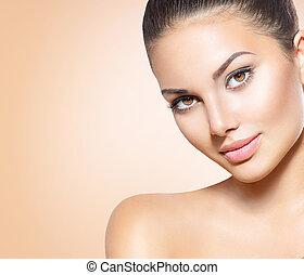 beau, parfait, brunette, jeune, peau, spa, modèle, girl