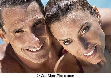 beau, parfait, délassant, sourires, couple, piscine, natation