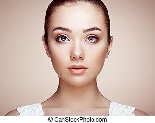 beau, parfait, face., femme, maquillage